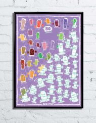 Fun colourful scratch poster filled with 51 healthy and best smoothies for you to make