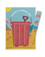 Fun and colourful bucket and spade scratch poster with fun activities for the family to complete