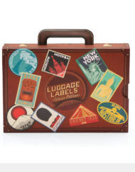 Retro style luggage label stickers in suitcase style box