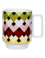 Colourful Retro Style Magpie Sarah Campbell Viva Overlap Mug