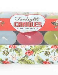 Retro style colourful tea light candles pink blue and green