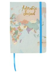 Lovely travel journal with gold leaf lettering and world map design